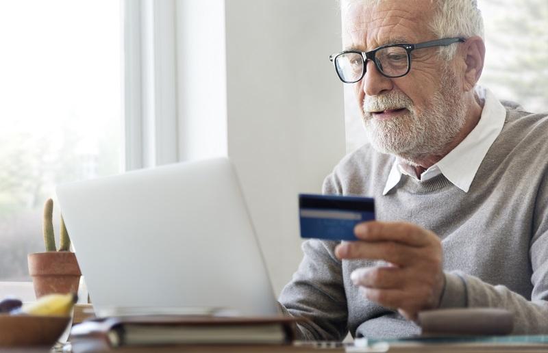 Man using online shopping
